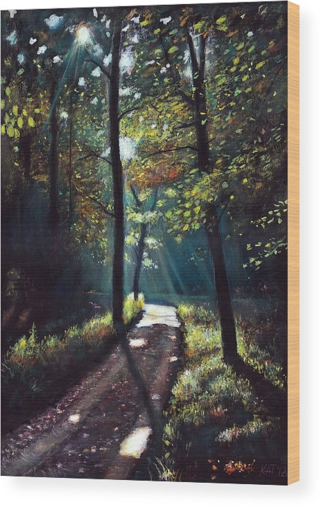 Landscape Wood Print featuring the painting Fragment Of The Forest 1. by Attila Tamas Kagyerjak