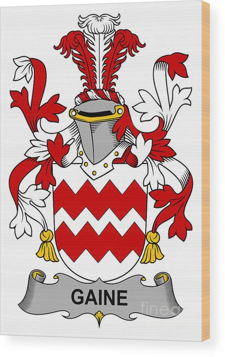 Gaine Wood Print featuring the digital art Gaine Coat Of Arms Irish by Heraldry