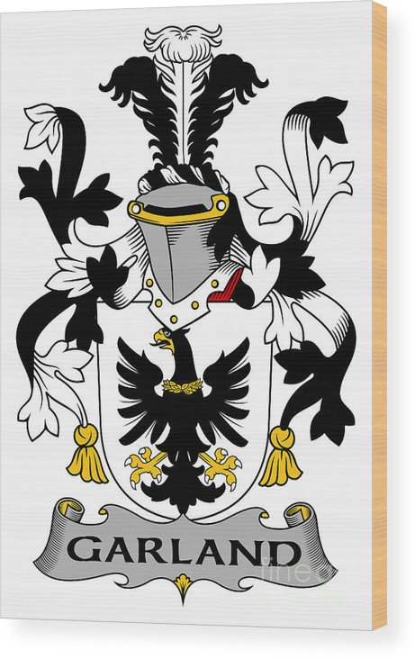 Garland Wood Print featuring the digital art Garland Coat Of Arms Irish by Heraldry