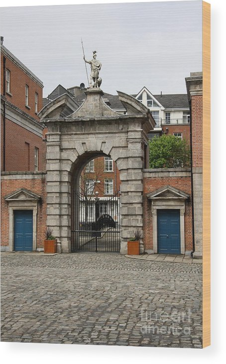 Gate Of Fortitude Wood Print featuring the photograph Gate Of Fortitude - Dublin Castle by Christiane Schulze Art And Photography