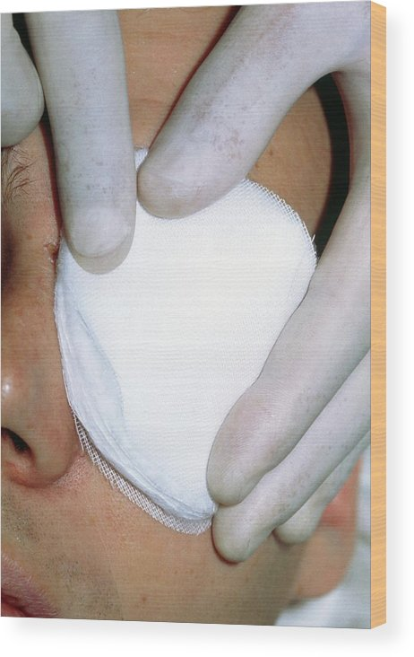 Bandage Wood Print featuring the photograph Gloved Fingers Apply Dressing To Patient's Eye by Garry Watson/science Photo Library