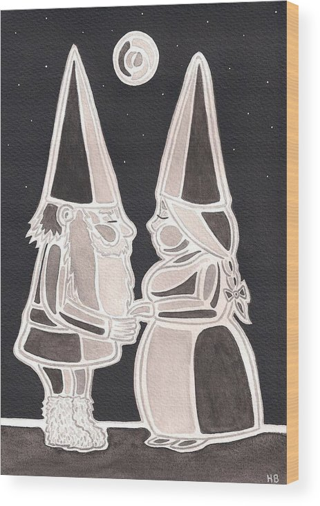 Iceland Wood Print featuring the painting Gnome Kiss by Heidi Bjork