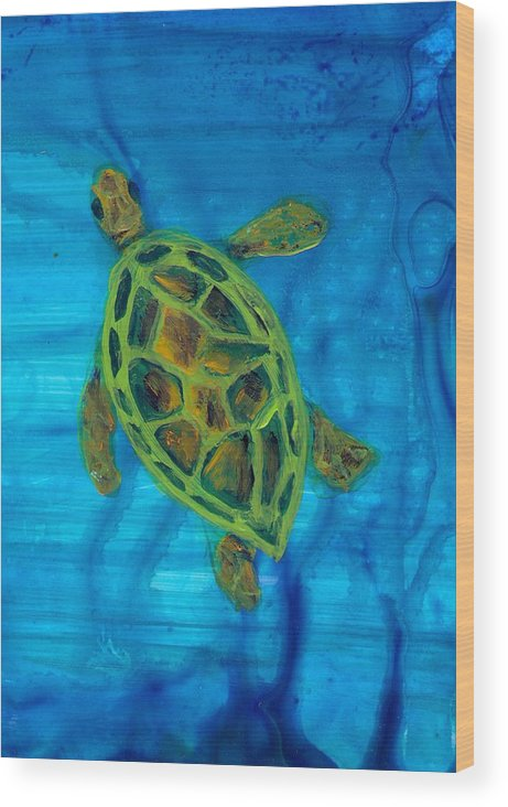 Turtle Wood Print featuring the painting Going Up For Air by Wanda Pepin