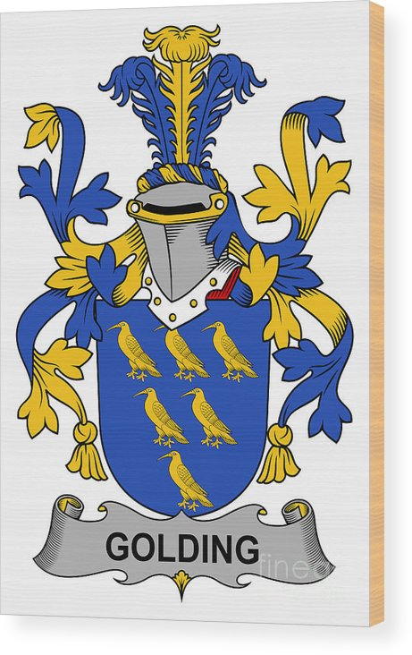 Golding Wood Print featuring the digital art Golding Coat Of Arms Irish by Heraldry