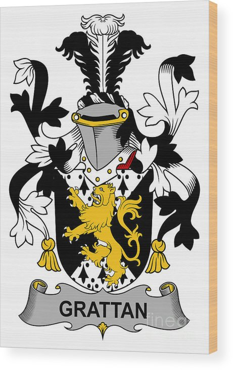 Grattan Wood Print featuring the digital art Grattan Coat Of Arms Irish by Heraldry