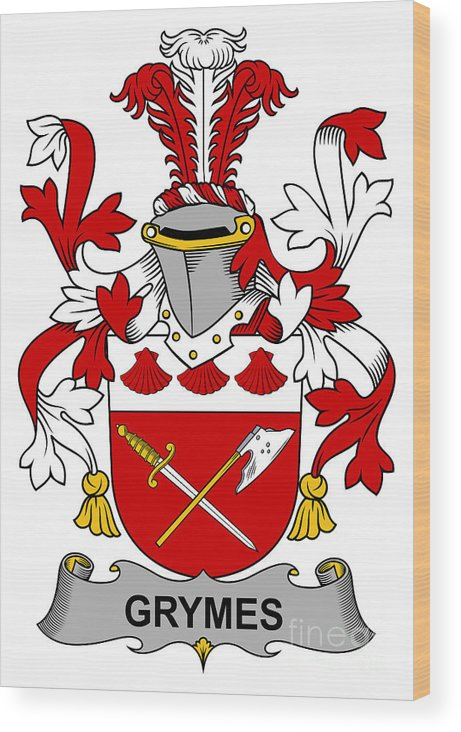 Grymes Wood Print featuring the digital art Grymes Coat Of Arms Irish by Heraldry
