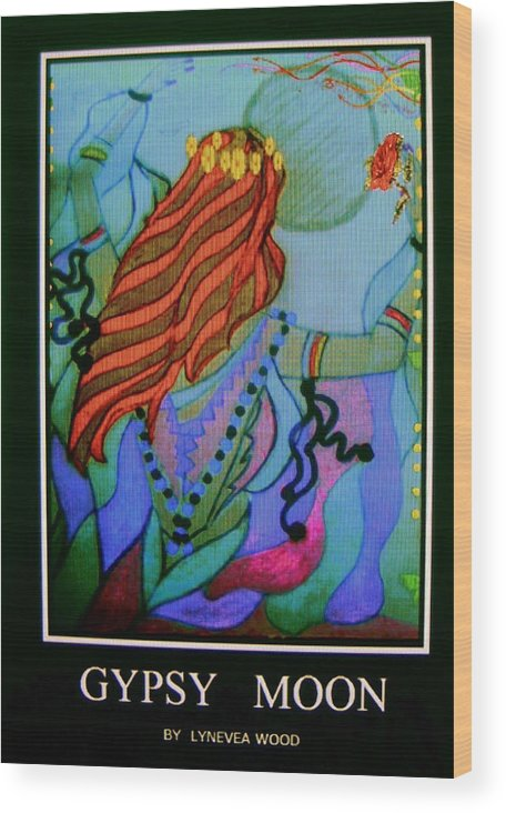 Wood Print featuring the drawing Gypsy Moon by Lynn Wood