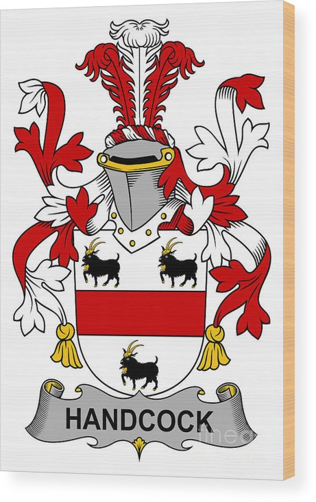 Handcock Wood Print featuring the digital art Handcock Coat Of Arms Irish by Heraldry