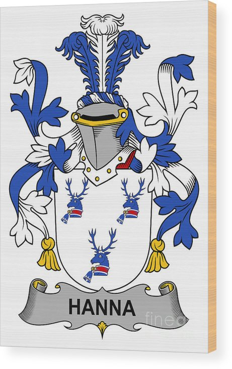 Hanna Wood Print featuring the digital art Hanna Coat Of Arms Irish by Heraldry
