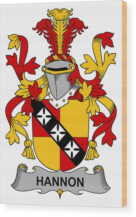 Hannon Wood Print featuring the digital art Hannon Coat Of Arms Irish by Heraldry