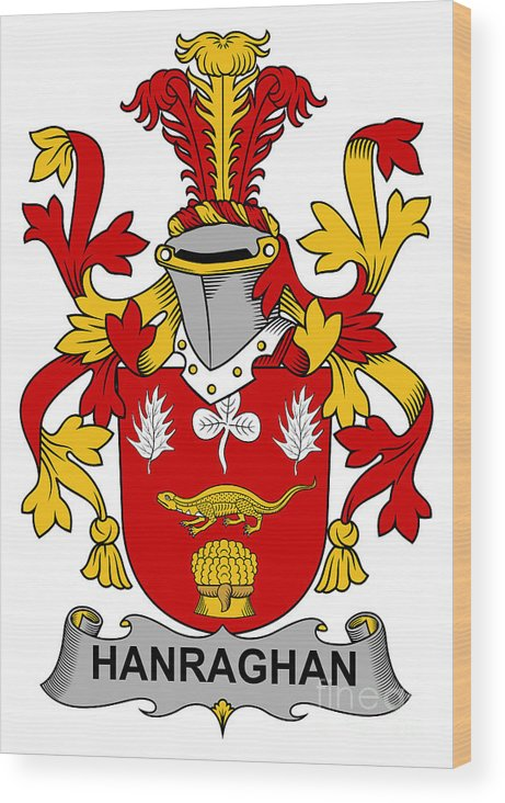 Hanraghan Wood Print featuring the digital art Hanraghan Coat Of Arms Irish by Heraldry