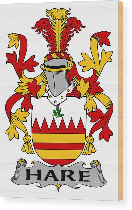 Hare Wood Print featuring the digital art Hare Coat Of Arms Irish by Heraldry