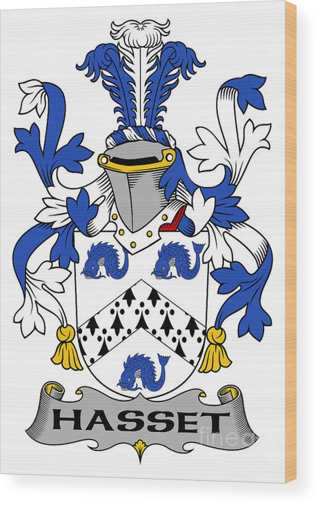 Hasset Wood Print featuring the digital art Hasset Coat Of Arms Irish by Heraldry