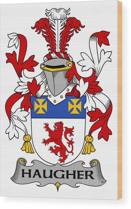 Haugher Wood Print featuring the digital art Haugher Coat Of Arms Irish by Heraldry