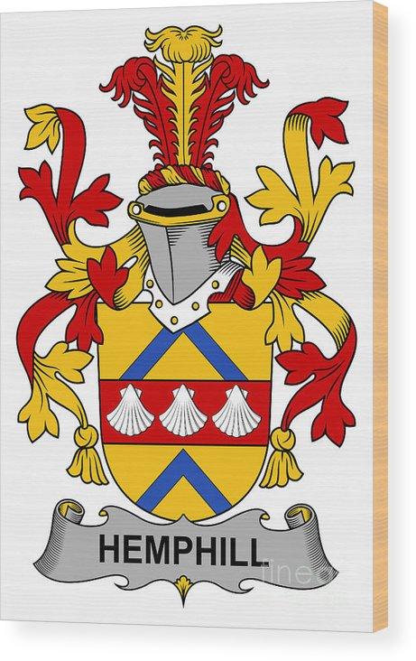 Hemphill Wood Print featuring the digital art Hemphill Coat Of Arms Irish by Heraldry