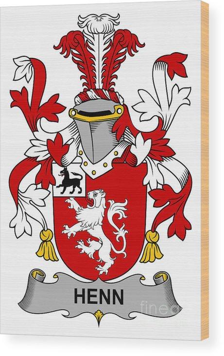 Henn Wood Print featuring the digital art Henn Coat Of Arms Irish by Heraldry