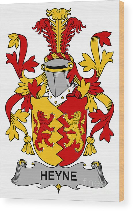 Heyne Wood Print featuring the digital art Heyne Coat Of Arms Irish by Heraldry