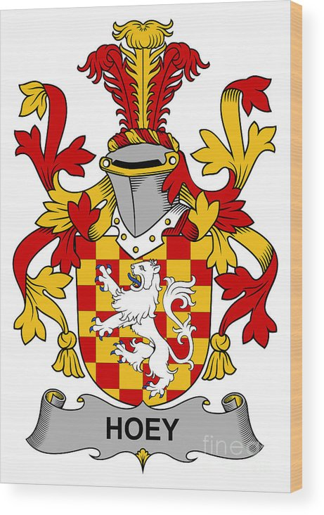 Hoey Wood Print featuring the digital art Hoey Coat Of Arms Irish by Heraldry