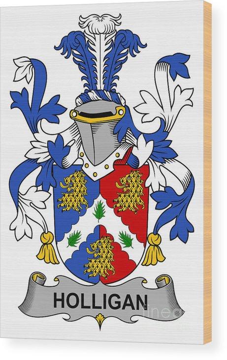 Holligan Wood Print featuring the digital art Holligan Coat Of Arms Irish by Heraldry