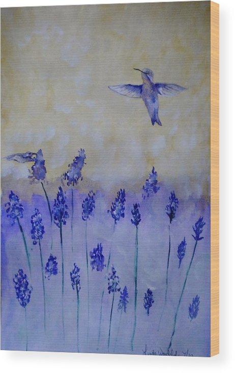 Larkspur Wood Print featuring the painting Hummingbirds Among Larkspur by Linda Waidelich