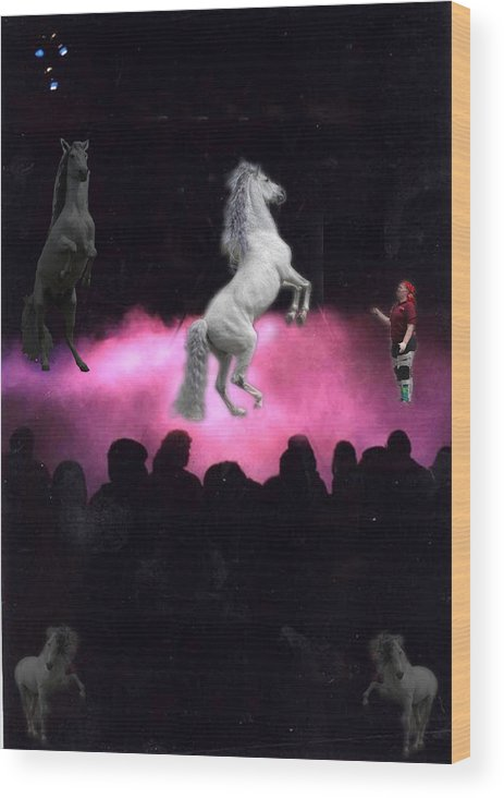 Horse Wood Print featuring the digital art In The Clouds by Laurietta Oakleaf