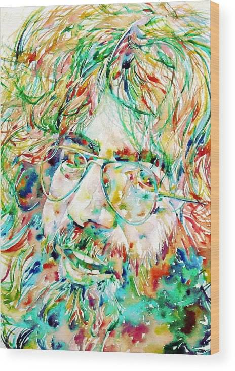 Jerry Wood Print featuring the painting Jerry Garcia Watercolor Portrait.1 by Fabrizio Cassetta