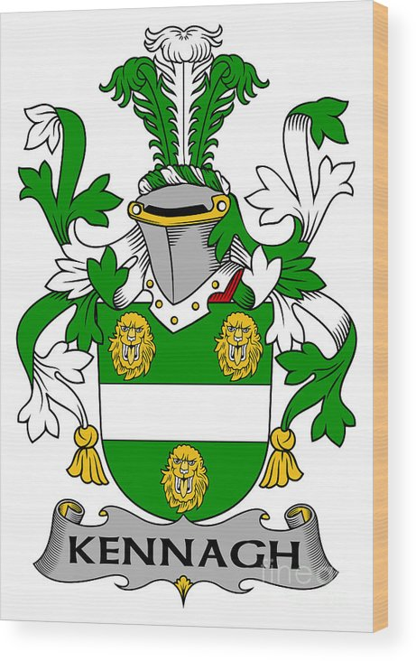 Kennagh Wood Print featuring the digital art Kennagh Coat Of Arms Irish by Heraldry