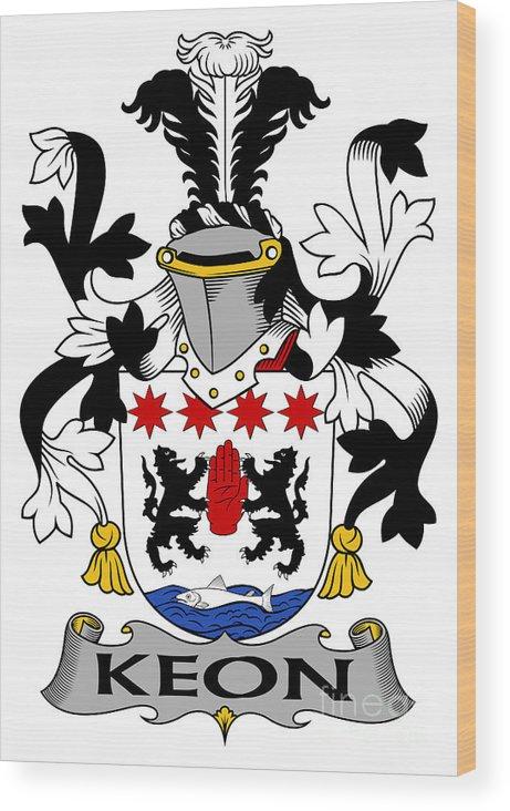 Keon Wood Print featuring the digital art Keon Coat Of Arms Irish by Heraldry