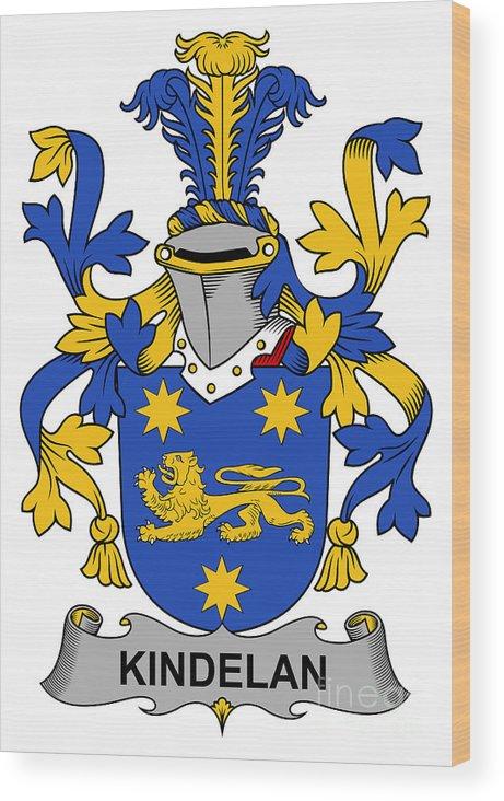 Kindelan Wood Print featuring the digital art Kindelan Coat Of Arms Irish by Heraldry