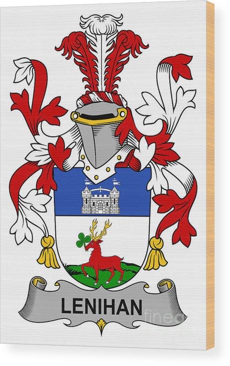 Lenihan Wood Print featuring the digital art Lenihan Coat Of Arms Irish by Heraldry