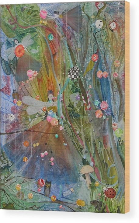 Fantasy Wood Print featuring the painting Les Carioles by Jackie Mueller-Jones