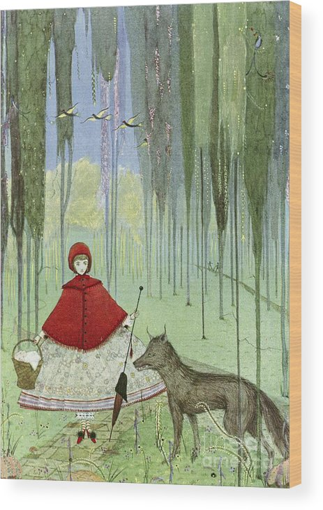 Little Red Riding Hood Wood Print featuring the photograph Little Red Riding Hood, Artwork by British Library