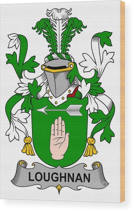 Loughnan Wood Print featuring the digital art Loughnan Coat Of Arms Irish by Heraldry