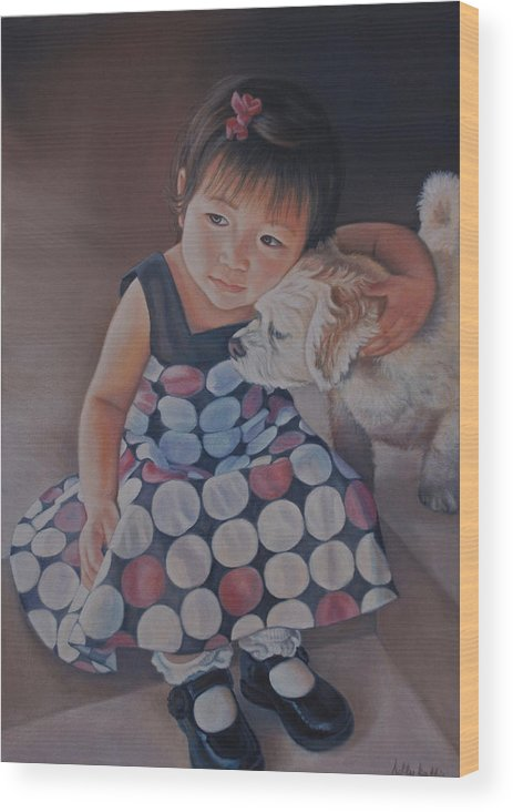 Portrait Wood Print featuring the painting Love Makes The World Go Round by Holly Kallie