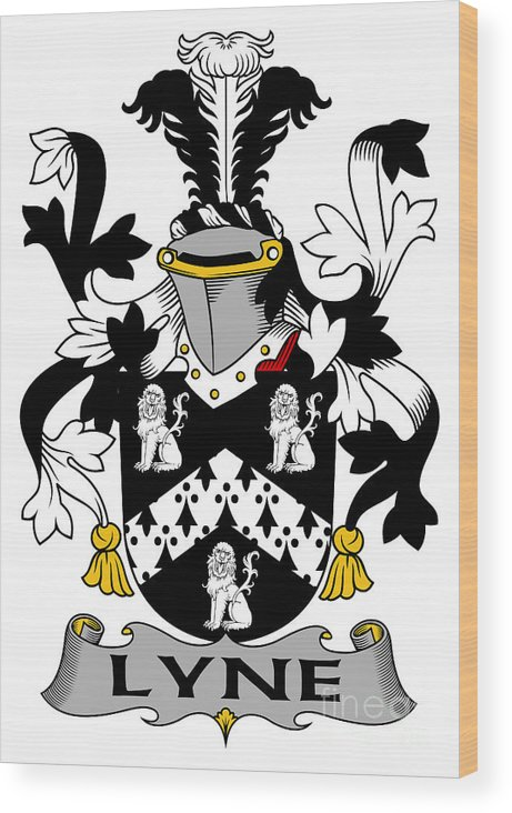 Lyne Wood Print featuring the digital art Lyne Coat Of Arms Irish by Heraldry