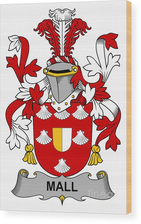 Mall Wood Print featuring the digital art Mall Coat Of Arms Irish by Heraldry