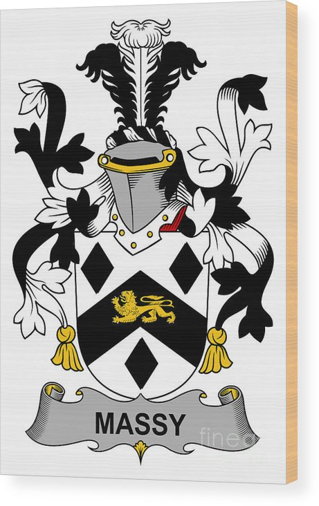 Massy Wood Print featuring the digital art Massy Coat Of Arms Irish by Heraldry