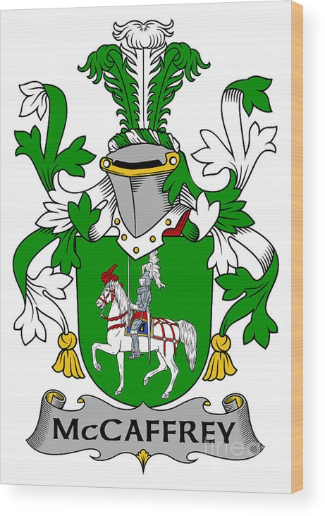Mccaffrey Wood Print featuring the digital art Mccaffrey Coat Of Arms Irish by Heraldry
