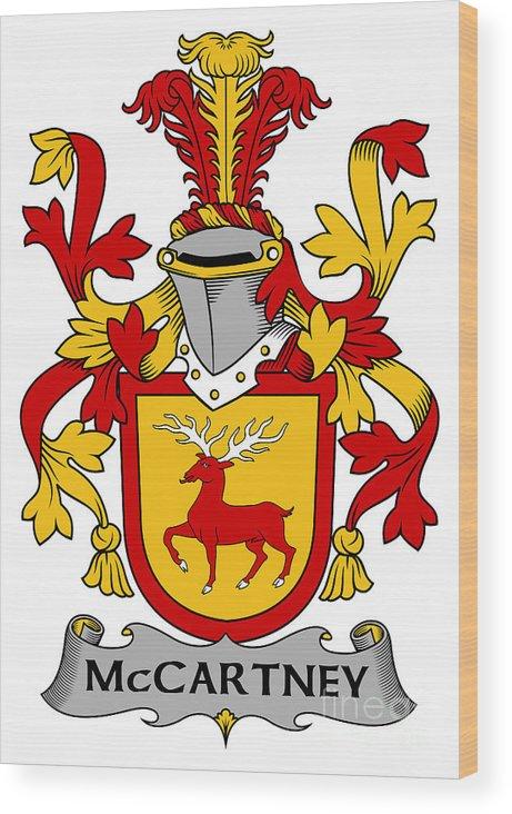 Mccartney Wood Print featuring the digital art Mccartney Coat Of Arms Irish by Heraldry