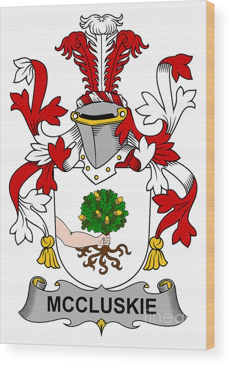 Mccluskie Wood Print featuring the digital art Mccluskie Coat Of Arms Irish by Heraldry