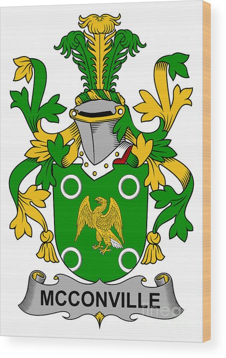 Mcconville Wood Print featuring the digital art Mcconville Coat Of Arms Irish by Heraldry