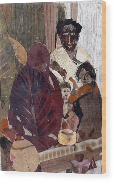 Group Portrait Wood Print featuring the mixed media Needy Family by Basant Soni