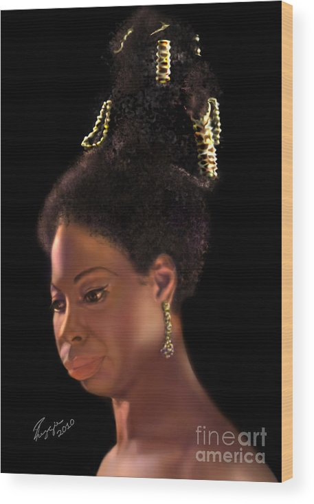 Jazz Wood Print featuring the painting Nina Simone by Reggie Duffie