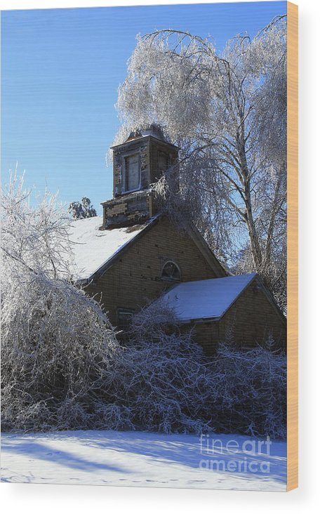 Old Wood Print featuring the photograph Old Church In Ice by Kathy DesJardins