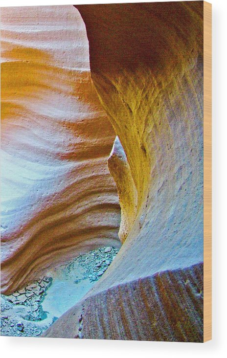 Peeking At Treasure In Lower Antelope Canyon In Lake Powell Navajo Tribal Park Wood Print featuring the photograph Peeking At Treasure In Lower Antelope Canyon In Lake Powell Navajo Tribal Park-arizona  by Ruth Hager