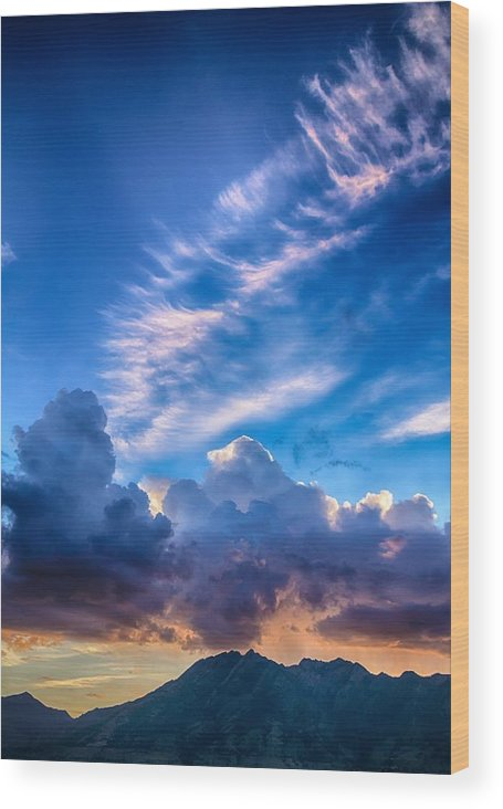 Sunrise Wood Print featuring the photograph Pink Cloud Trails Over Mount Olympus by Mitch Johanson