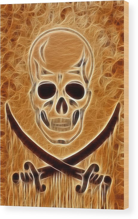 Pirate Skull Wood Print featuring the digital art Pirates Skull Digtal Painting by Costinel Floricel