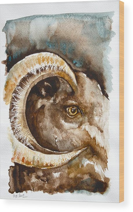 Ram Wood Print featuring the painting Ram by Helen Bennett