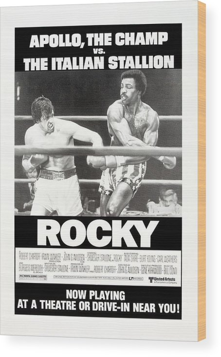 1970s Poster Art Wood Print featuring the photograph Rocky, Us Poster, Sylvester Stallone by Everett