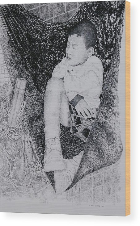 Tot Child Sleeping Boy Wood Print featuring the painting Safety Net by Tony Ruggiero
